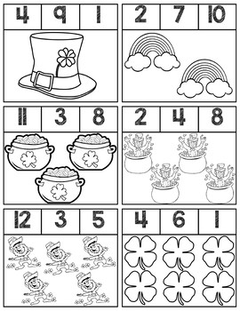 St. Patrick's Day Black & White Clip Cards | Numbers 1-12