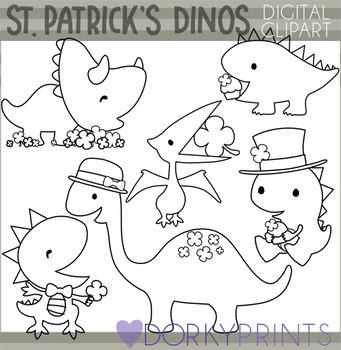 St Patrick's Day Blackline Dinosaur Clipart