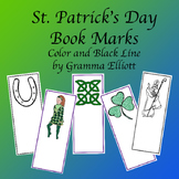 St. Patrick's Day Book Marks in Color and BW Ready to Color
