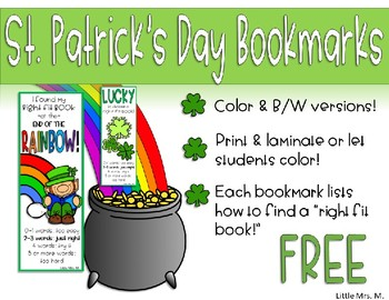 St. Patrick's Day Bookmarks with Right Fit Book Guide