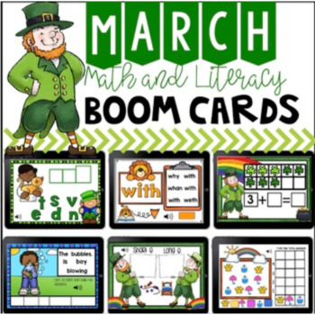 St. Patrick's Day Boom Cards Math and Literacy