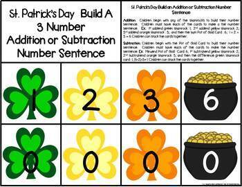 St. Patrick's Day Build 3 Addend Addition & Subtraction Number Sentences