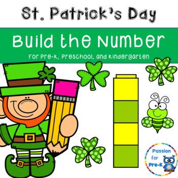 St. Patrick's Day Build the Number - Pre-K, Preschool, and Kindergarten