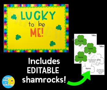 St. Patrick's Day Bulletin Board with EDITABLE Shamrocks