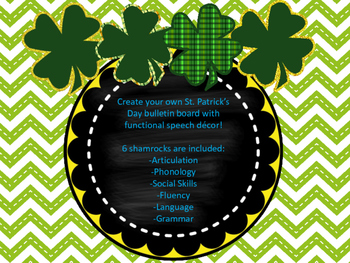 St. Patrick's Day Bulletin Board Shamrocks for Speech Therapy!