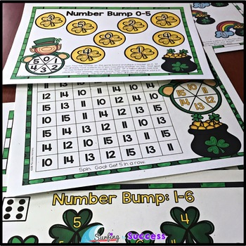 St. Patrick's Day Bump and Cover Up Number Games: Numbers 0-20