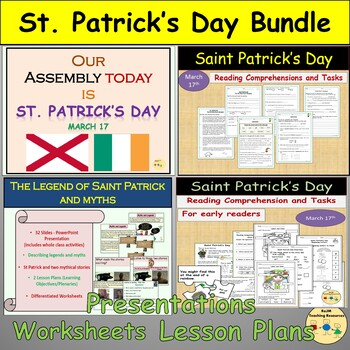 St Patrick's Day Bundle-Assembly, Myths/Legends Worksheets Lesson Plans Writing