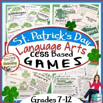St. Patrick's Day CCSS-Based Language Arts Games Bundle, Middle & High School