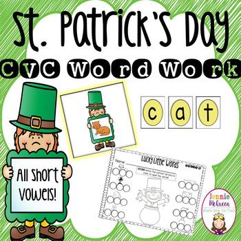 St. Patrick's Day CVC Word Work Center