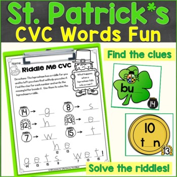 St. Patrick's Day CVC Words Around the Room, Sensory Bin Activity (RF.K.2.D)