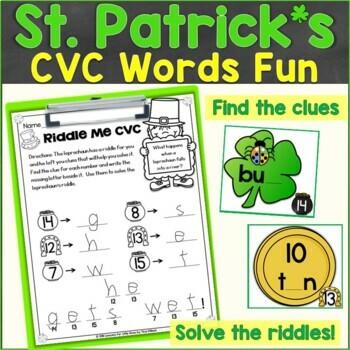 St. Patrick's Day CVC Words Around the Room, Sensory Bin Activity (RF.K.2.D)