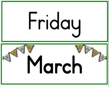 St Patrick's Day Calendar Set March