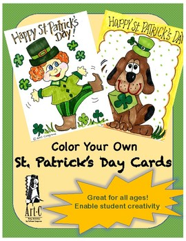 St. Patrick's Day Cards - Coloring/writing activity