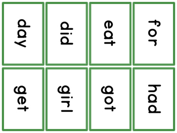 St Patrick's Day Cards Fountas & Pinnell 50 High Frequency Words