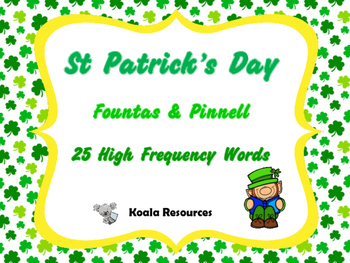 St Patrick's Day Cards Fountas and Pinnell 25 High Frequency by Koala Resources