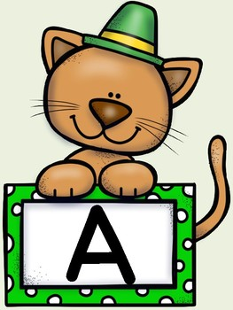 St. Patrick's Day Cat Alphabet Letter Posters Uppercase and Lowercase