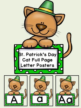 St. Patrick's Day Cat Alphabet Letter Posters Uppercase an
