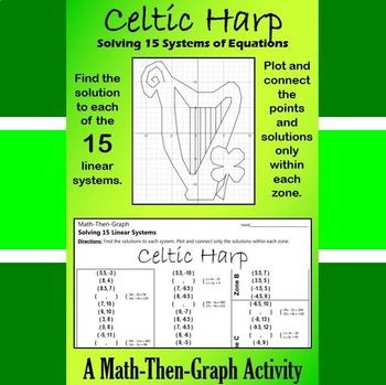 St. Patrick's Day - Celtic Harp - Math-Then-Graph - Solve 15 Systems