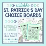 St. Patrick's Day Choice Board - Reading, Writing, and Mat