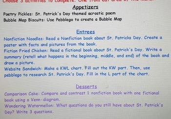St. Patrick's Day Choice Menu