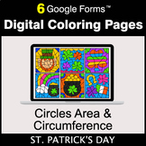 St. Patrick's Day: Circles Area & Circumference - Digital