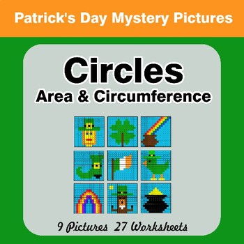 St. Patrick's Day: Circles Area & Circumference - Math Mystery Pictures