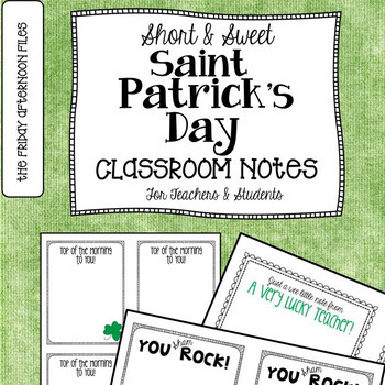St. Patrick's Day Classroom Notes
