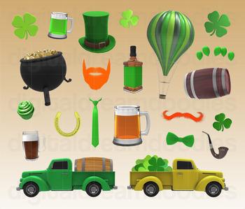 St Patrick's Day Clip Art - Irish Shamrock Saint Patty Day Digital Graphics