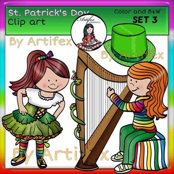 St. Patrick's Day Clip Art SET 3 clip art- color and B&W-