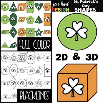 St. Patrick's Day Clip Art- St. Patrick's Day 2D & 3D Shapes {jen hart Clip Art}
