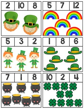 St. Patrick's Day Clip Cards | Numbers 1-12