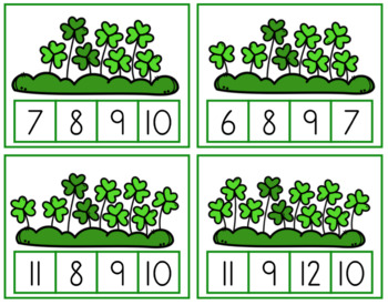 St. Patrick's Day Clip Cards for Counting and Addition
