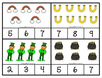 St. Patrick's Day Clip Cards numbers 1 to 10