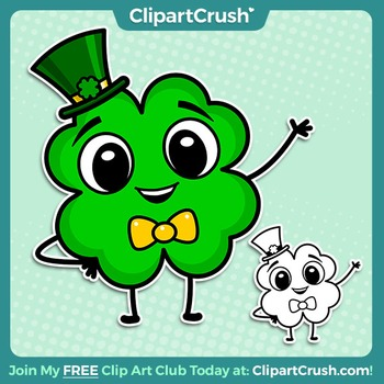St. Patrick's Day Clipart - Cartoon Shamrock Four Leaf Clover Clipart Character!