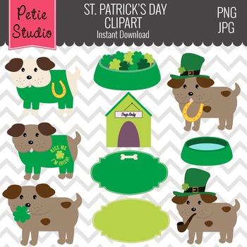 St. Patrick's Day Clipart // Dog Clipart // Kiss Me I'm Irish - EV129