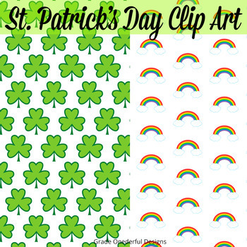 St. Patrick's Day Clipart, 2 Papers, 1 Frame, CU Okay