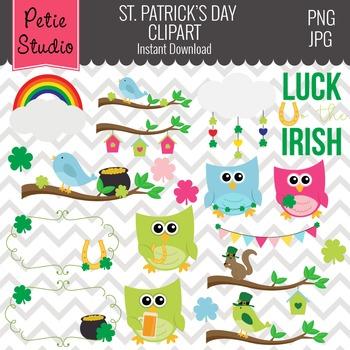St. Patrick's Day Clipart // Owl Clipart // St. Patrick's Digital Frames - EV128