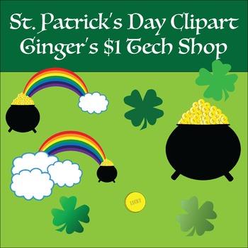 St. Patrick's Day * Clipart * Shamrocks * Gold * Rainbow
