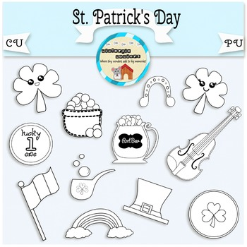 St.Patrick's Day Clipart - clover - coins - fiddle - Irish