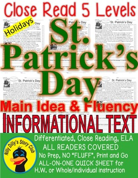 St. Patrick's Day Close Read 5 Levels Info Text Fluency TDQs ALL-READERS-COVERED