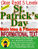 St. Patrick's Day CLOSE READING 5 LEVEL PASSAGES Main Idea Fluency Check TDQs