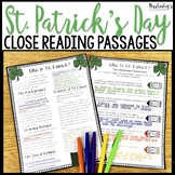 St. Patrick's Day Close Read Passages & Text Dependent Questions