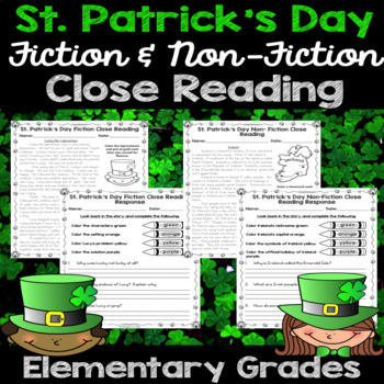 St. Patrick's Day Close Reading - March Printables - Grades 2-4