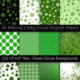 St. Patrick's Day Clover Clip Art - Green Shamrock Backgrounds