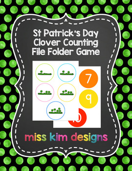 St Patrick's Day Clover Counting File Folder Game for Special Education