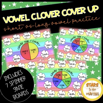 St. Patrick's Day Clover Spin & Cover/Color (Short & Long Vowels)