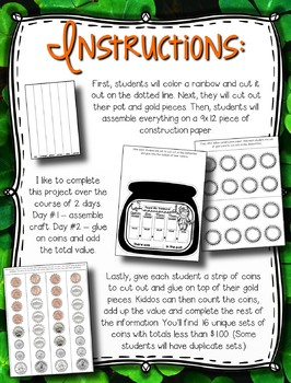 St. Patrick's Day Coin Counting Craftivity