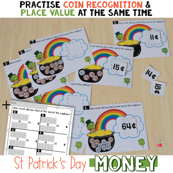 St Patrick's Day Coins and Place Value Math Center