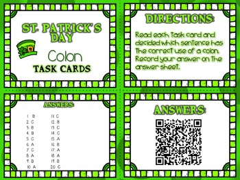 St. Patrick's Day: Colon Task Cards