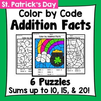 St. Patrick's Day Color By Addition Facts: Sums up to 10, 15, & 20
